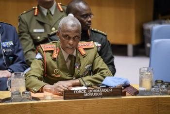Lieutenant General Derrick Mbuyiselo Mgwebi, Force Commander of the United Nations Organization Stabilization Mission in the Democratic Republic of the Congo (MONUSCO), addresses the Security Council meeting on UN peacekeeping operations.