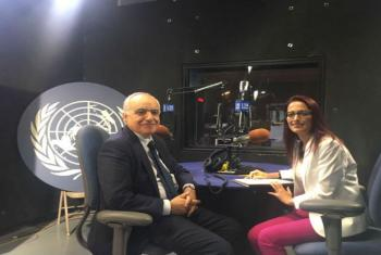 Ghassan Salamé, Head of the UN Support Mission in Libya (UNSMIL), being interviewed by  May Yaacoub in late July.