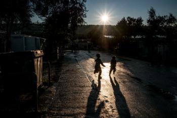Boys play at Kara Tepe refugee camp on the outskirts of Mytilini, Lesvos, Greece.