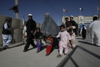 Afghan migrants freshly arrived at the Pakistan-Afghanistan border in Chaman, Pakistan.