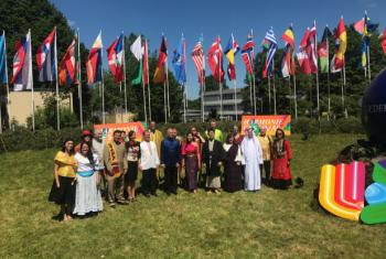 The UN Singers, dressed in national costumes from around the world, pictured at the Harmonie Festival 2017, Lindenholzhausen, Germany.