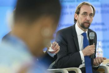 Zeid Ra'ad Al Hussein, United Nations High Commissioner for Human Rights, speaking during a panel discussion in Geneva.