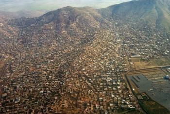 An aerial view of Kabul, Afghanistan.