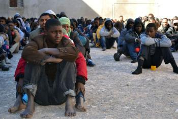 Migrants at a detention centre in the city of Zawiya, Libya. UN Human Rights Chief Zeid visited Libya on Tuesday to meet government ministers and visit one of the country's main prisons.