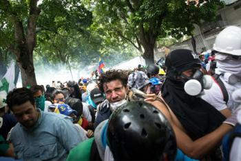Protesters in La Castellana, a neighborhood in eastern Caracas.