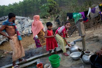 Rohingya refugees from Myanmar at a camp in Cox's Bazar, Bangladesh.