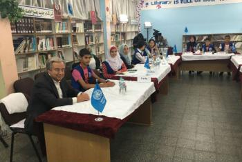 The UN Secretary-General during his visit to the UNRWA school at Beit Lahiya, Gaza, on 30 August 2017.