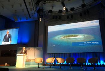 President of the General Assembly Peter Thomson, addressing the 2017 World Water Week in Stockholm, Sweden.