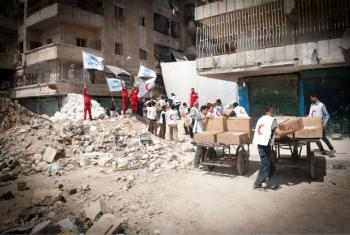 UN refugee agency and its partners deliver aid to hard-to-reach neighbourhoods in Eastern Aleppo, Syria.