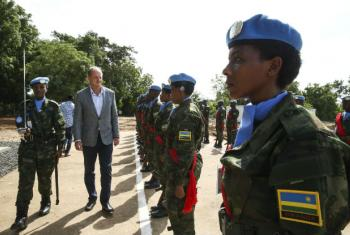 UNMISS chief David Shearer greets members of the Rwandan battalion of the Regional Protection Force (RPF) in South Sudan.