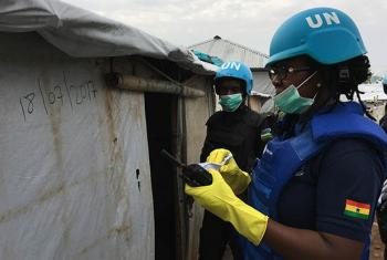 UNPOL officer in South Sudan, Cynthia Anderson records date of search on shelter in displaced persons camp in Juba.