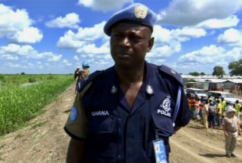 UN Police Coordinator Francis Yiribarre of Ghana at the UNMISS protection camp, in Bentiu, South Sudan.