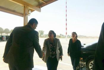 UN Youth envoy, Jayathma Wickramanayake, arriving at the airport in Baghdad.