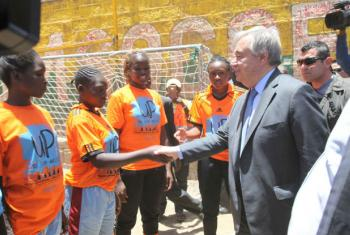 Secretary-General António Guterres meeting with youth leaders and women political hopefuls in the Mathare slum of Nairobi, Kenya.