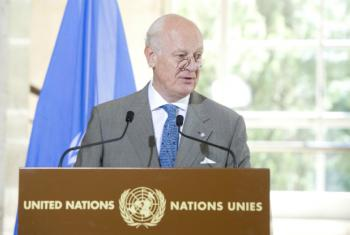 UN Special Envoy for Syria Staffan de Mistura urged warring parties to come to the negotiating table in Geneva in October.