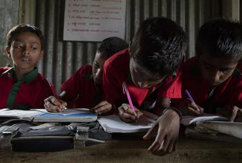 Students participate in class lessons at the Kashadaha Anando school in Kashadaha, Bangladesh. (file)