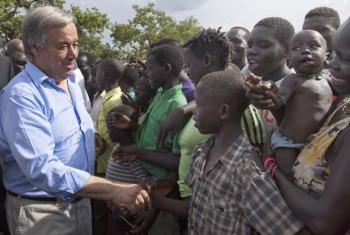 The Secretary-General meets South Sudanese refugees during a visit to Imvepi camp in northern Uganda, in June 2017.