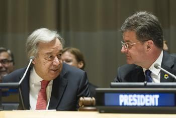 UN Secretary-General António Guterres (left) with Miroslav Lajčák, UN General Assembly president, at event commemorating  the International Day for the Total Elimination of Nuclear Weapons.