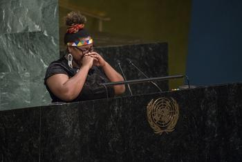 Grizelda Grootboom, Civil society representative and victim of human trafficking, addresses the high-level meeting of the General Assembly to appraise progress achieved in the implementation of the United Nations Global Plan of Action to Combat Traffickin