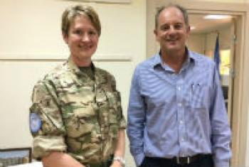 Lieutenant Colonel Katie Hislop (left) with the head of the UN peacekeeping mission in South Sudan (UNMISS), David Shearer.