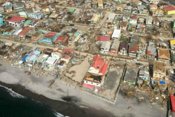 An aerial shot of hurricane-battered Dominica.