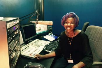 Emtithal Mahmoud at the UNAMID radio studio.