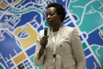 Aisa Kirabo Kacyira speaking at the UN Habitat III conference held in Quito, Ecuador during October of last year.