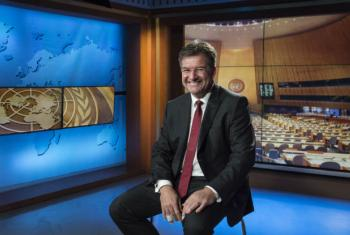 Miroslav Lajčák, President of the 72nd session of the General Assembly, gives an interview for the UN News and Media Division's news outlets.