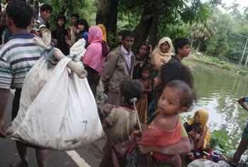 Arrivals in Bangladesh's Ukhiya area right after crossing the border with Myanmar's northern Rakhine state.