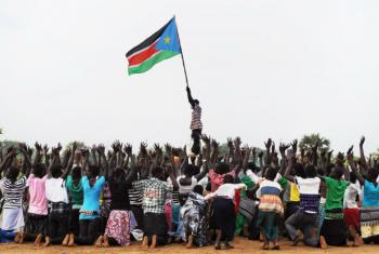 Souther Sudanese children rehearse their dance routine to be performed at half time during South Sudan's national football team match with Kenya as part of the independence day celebrations.