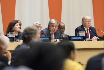 Secretary-General António Guterres and US President Donald Trump (right) during the high-level meeting on reform of the United Nations.