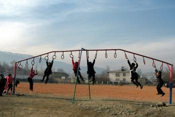 Children playing at the multi-ethnic Krupskaya School in the town of Nookat, Osh oblast, Kyrgyzstan. UN estimates indicate 41 million children under the age of five are overweight.