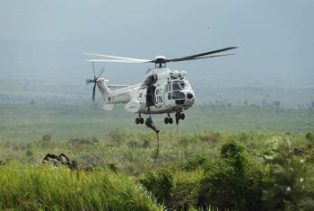 Sake, North Kivu Province, DR Congo: MONUSCO Special Forces conducting a training in fast-roping for future aircraft operations.