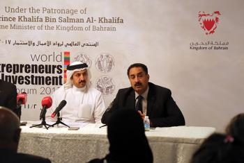Hashim Hussein, Head of UNIDO ITPO-Bahrain (right) speaks at the press briefing.