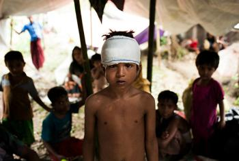 Mohammed Yasin, 8, is amongst the Rohingyas refugee children living in shelters at the Kutupalong makeshift camp in Cox's Bazar, Bangladesh.