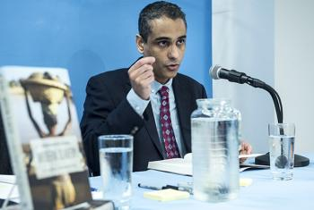 "Siddharth Kara, author of the book ""Modern Slavery"", during an event introducing him to readers at the UN Bookshop."