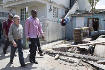 Secretary-General António Guterres with Roosevelt Skerrit, Prime Minister of Dominica, on 08 October in Roseau, the capital of Dominica.