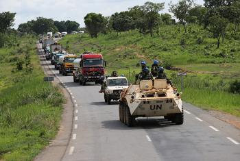 MINUSCA Peacekeepers escorting supply trucks transporting goods from the border with Cameroon, through the Bangui-Douala corridor, Central African Republic.