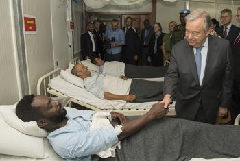 Secretary-General António Guterres visits wounded peacekeepers serving with the UN Multidimensional Integrated Stabilization Mission in the Central African Republic (MINUSCA).
