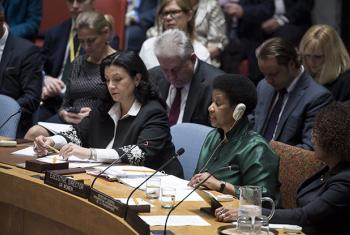 Phumzile Mlambo-Ngcuka (right), Executive Director of UN Women, addresses the Security Council's open debate on women, peace and security.