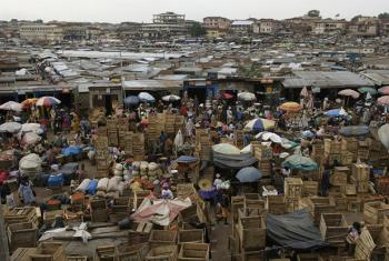 Overlooking the central market at closing time in Kumasi, the largest and one of the fastest growing metropolitan areas in Ghana.
