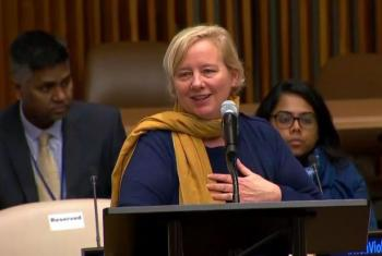Kit Miller, Director of the M. K. Gandhi Institute for Non-Violence, at UN Headquarters on 2 Oct 2017. Source: UN Web TV