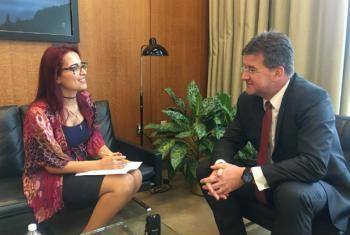 May Yaacoub interviewing President of the General Assembly, Miroslav Lajčák, for UN News in New York, ahead of the World Entrepreneurs Investment Forum.