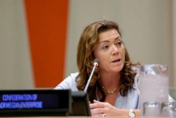 Director General of Confederation of Norwegian Enterprise, Kristin Skogen Lund, speaks at UN headquarters in New York.