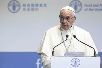 His Holiness Pope Francis delivering a statement at the World Food Day Ceremony 2017, FAO Headquarters, Rome, Italy.