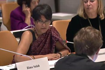 Ramya Subrahmanian at UN Headquarters on 02 October. Source: UN Web TV