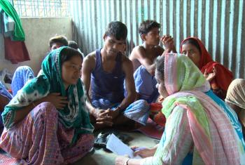 Rashida Begum speaking in session to an UNHCR psychologist named Mahmuda at the Kutapalong Refugee Camp in Bangladesh. Source: UNHCR (screen grab)