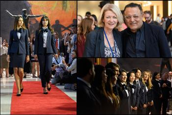 Left:Professional Tahari models wearing new uniforms. Right:Alison Smale, Head of UN Global Communications, and Elie Tahari(top), UN Tour guides wearing their new designed uniforms(bottom).
