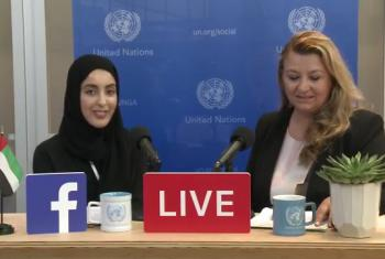 Shamma Suhail Faris Al Mazrui, United Arab Emirates Youth Minister (left), Basma Baghal (righ). Source: UN News (file)