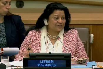 Sheila Ketharuth presents her report to the UN General Assembly on 26 October 2017. (Video screen grab)